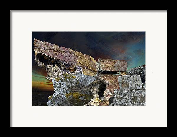 Fantasy Framed Print featuring the digital art Painted Cliff by Helga Schmitt