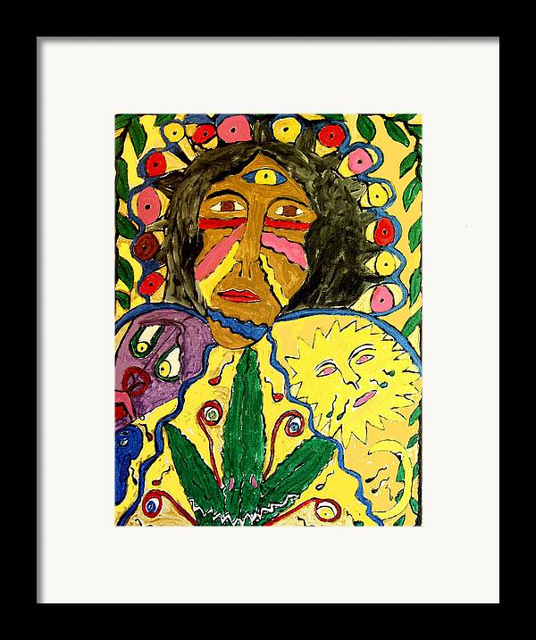 Paint Face Fantasy Framed Print featuring the painting Painted Face by Betty Roberts