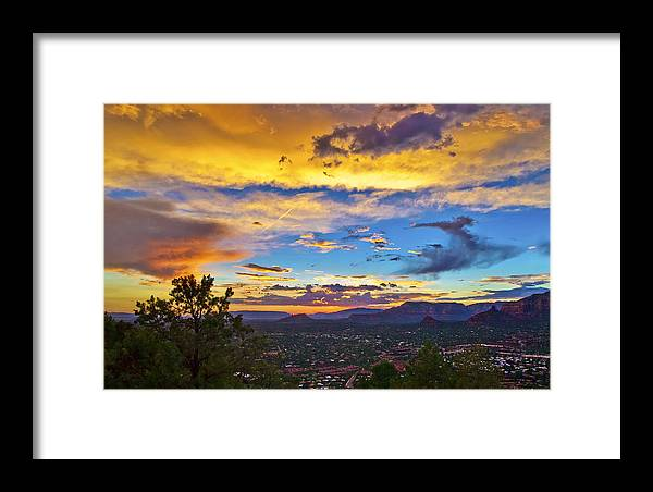 Sedona Framed Print featuring the photograph Painted Sky's Over Sedona by Lou Novick