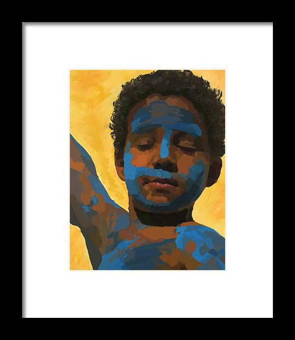 Portrait Framed Print featuring the digital art Painted Tavinho by Guto Barros