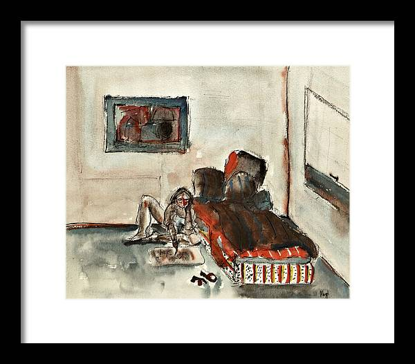 Watercolor Framed Print featuring the painting Painter by Maggis Art