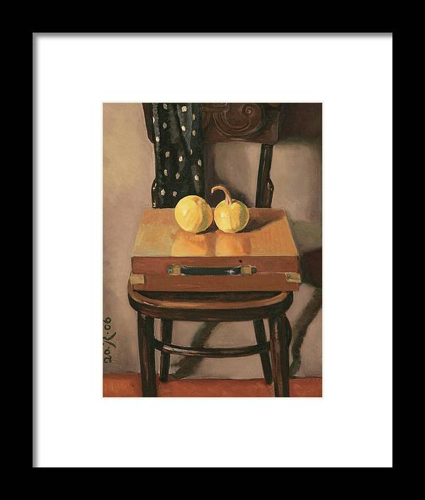 Still-life Chest Chair Brown Yellow Reflection Cucurbit Framed Print featuring the painting Painters Chest by Raimonda Jatkeviciute-Kasparaviciene