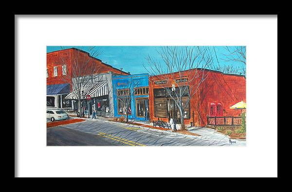 Townscape Framed Print featuring the painting Paintin The Town by Pete Maier