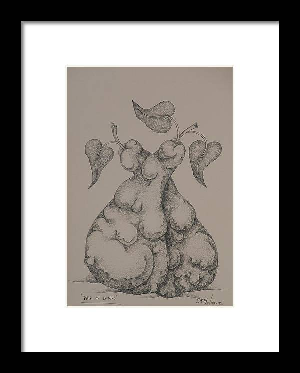 Sacha Framed Print featuring the drawing Pair of Lovers 2008 by S A C H A - Circulism Technique