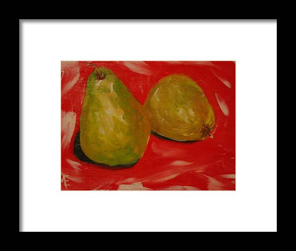 Pears Framed Print featuring the painting Pair Of Pears by Melinda Etzold