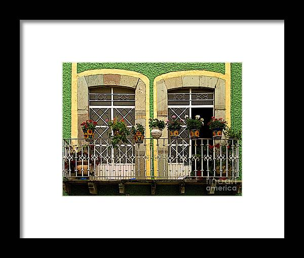 Darian Day Framed Print featuring the photograph Pair Of Windows In Green by Mexicolors Art Photography