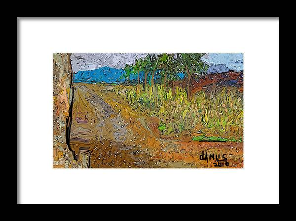 Arte Framed Print featuring the painting Paisaje - Chile - Campo 1 by Carlos Camus