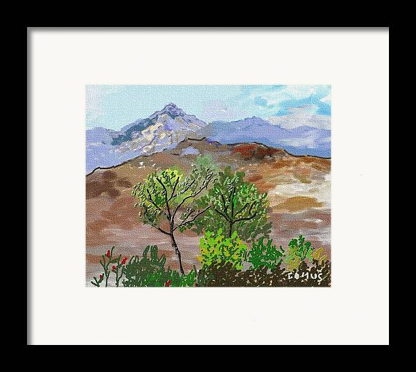 Art Framed Print featuring the painting Paisaje- Chile-cerro Campana by Carlos Camus