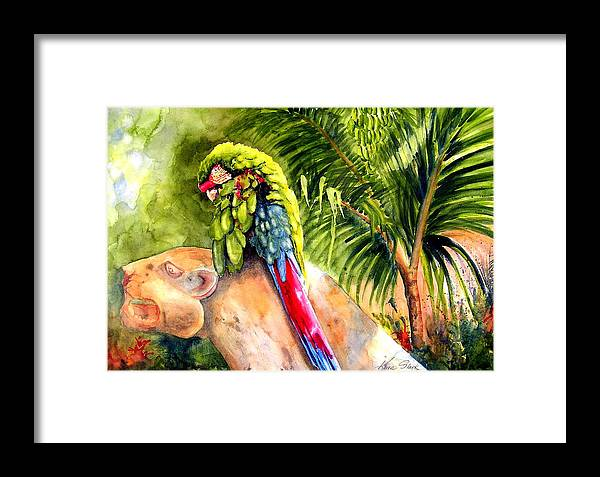 Parrot Framed Print featuring the painting Pajaro by Karen Stark
