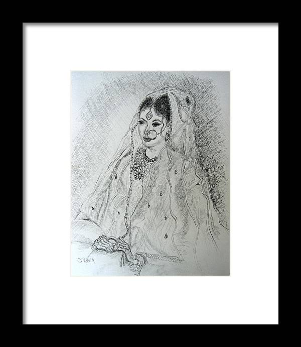 Pakistani Framed Print featuring the drawing Pakistani Bride by Caroline Urbania Naeem