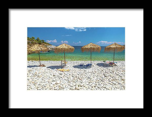 Palapa Framed Print featuring the photograph Palapa Umbrellas by Benny Marty