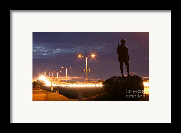 Palatka Framed Print featuring the photograph Palatka Memorial Bridge Doughboy by Angie Bechanan