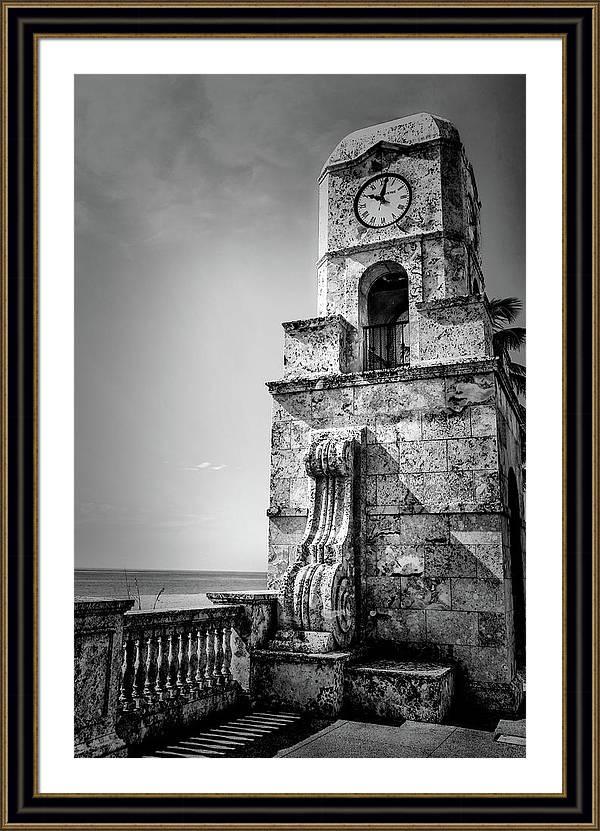 Palm Beach Clock Tower In Black And White by Carol Montoya
