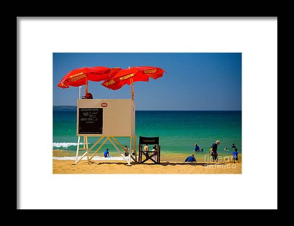 Palm Beach Sun Sea Sky Beach Umbrellas Framed Print featuring the photograph Palm Beach dreaming by Sheila Smart Fine Art Photography