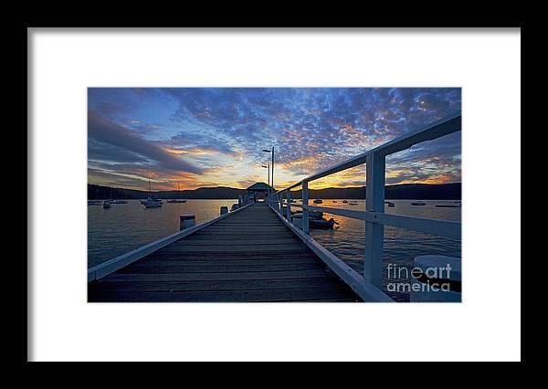 Palm Beach Sydney Wharf Sunset Dusk Water Pittwater Framed Print featuring the photograph Palm Beach wharf at dusk by Sheila Smart Fine Art Photography