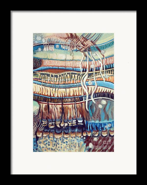 Abstract Framed Print featuring the painting Palm Contractions by Kerryn Madsen-Pietsch