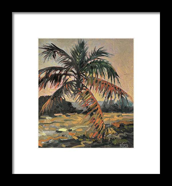 Oil Framed Print featuring the painting Palm by Donald Maier