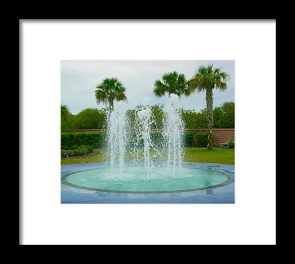 Pat Turner Framed Print featuring the photograph Palm Fountain by Pat Turner