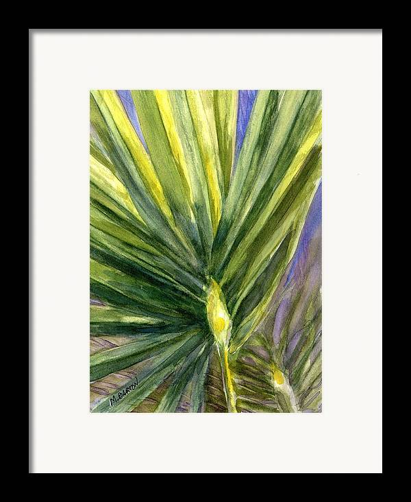 Palm Framed Print featuring the painting Palm Frond by Marilyn Barton