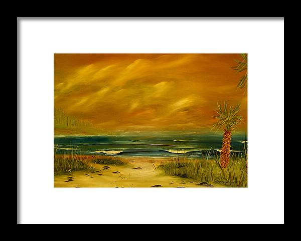 Sea Shore/palms/beach/skys Framed Print featuring the painting Palm Island by Lorenzo Roberts