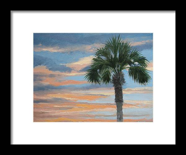 Landscape Framed Print featuring the painting Palm Morning by Robert Rohrich