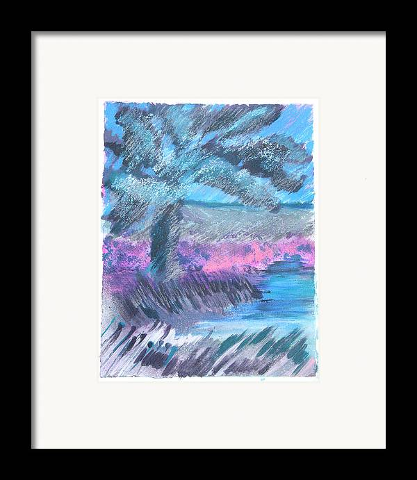 Framed Print featuring the mixed media Palm Of The Night by Judy Loper