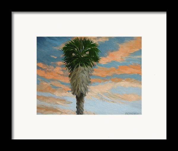 Landscape Framed Print featuring the painting Palm Sunrise by Robert Rohrich