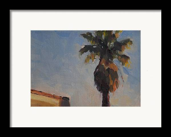 Landscape Framed Print featuring the painting Palm Tree In Winter Light by Merle Keller