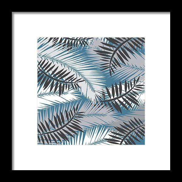 Summer Framed Print featuring the digital art Palm Trees 10 by Mark Ashkenazi