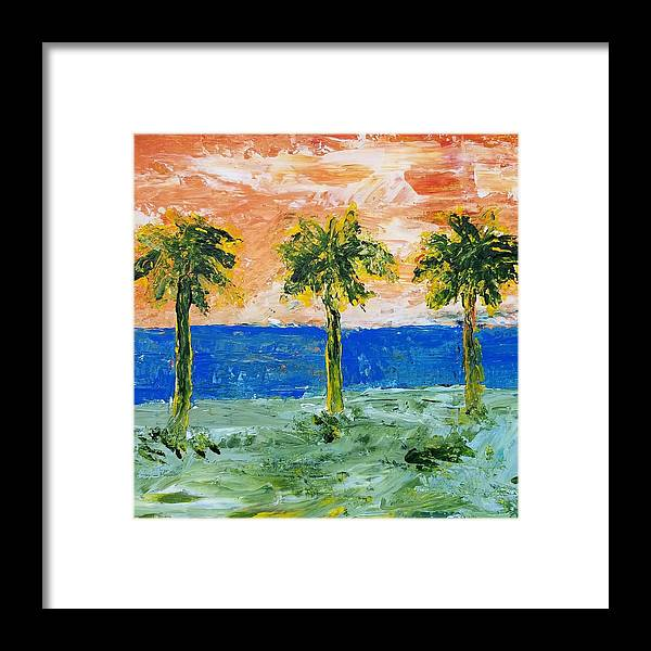16x12 Framed Print featuring the painting Palm Trees by David Ysidro
