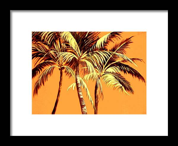 Nature Framed Print featuring the painting Palm Trees In Sepia by Patricia Rachidi