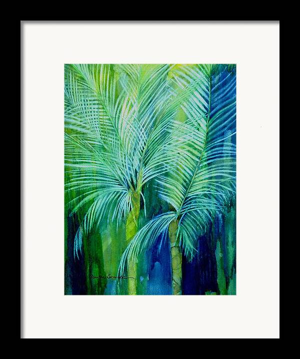 Landscape Framed Print featuring the painting Palm Trees by Maritza Bermudez