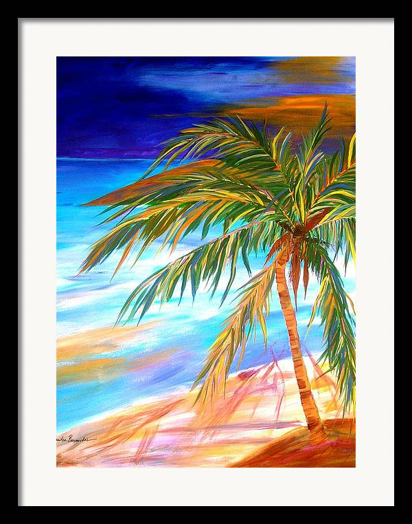 Landscape Framed Print featuring the painting Palma Tropical II by Maritza Bermudez