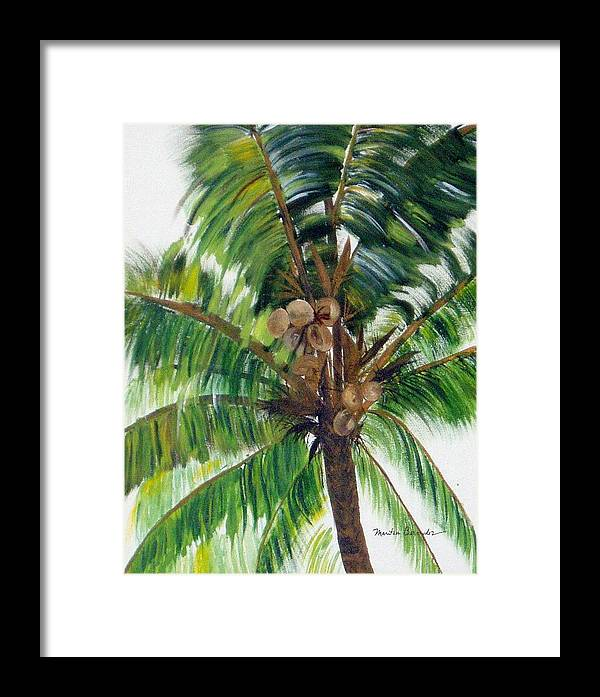 Common Beach Palm Tree Framed Print featuring the painting Palma Tropical by Maritza Bermudez