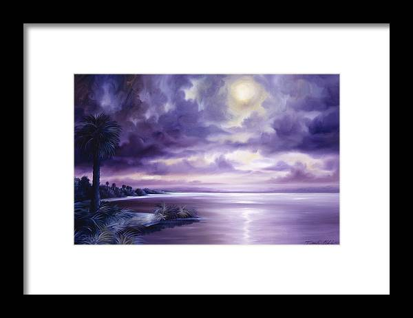 Moon Framed Print featuring the painting Palmetto Moonscape by James Christopher Hill