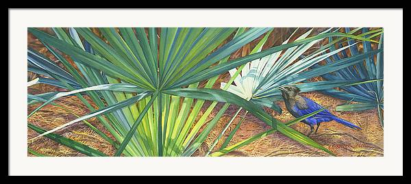Stellar\'s Bluejay Framed Print featuring the painting Palmettos And Stellars Blue by Marguerite Chadwick-Juner