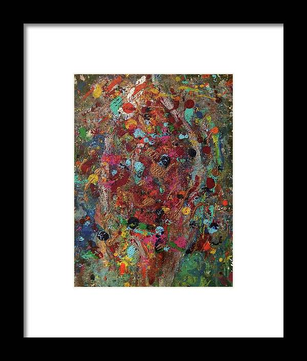 Abstract Framed Print featuring the painting Palmistry by Margaret Fronimos