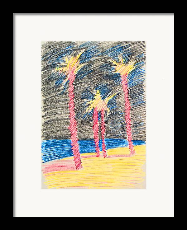 Beach Framed Print featuring the drawing Palms At The Night by Vitali Komarov