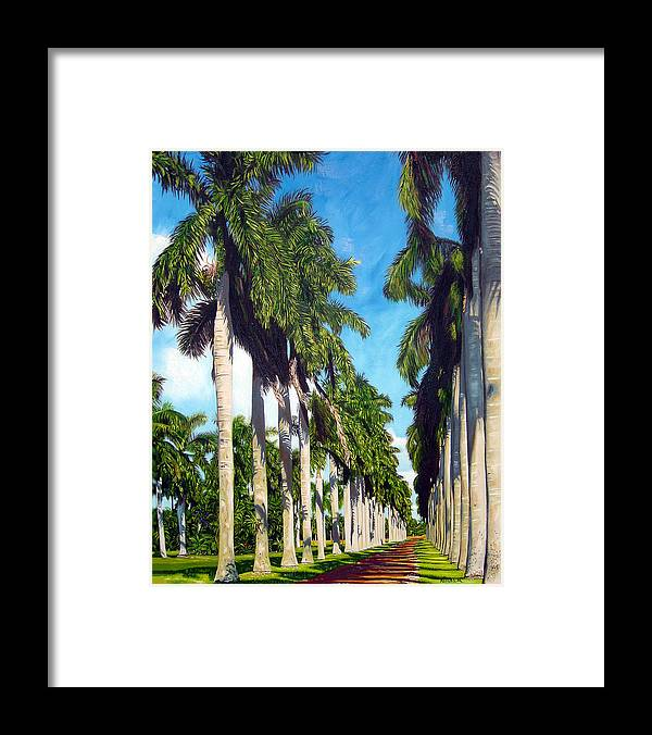 Palms Framed Print featuring the painting Palms by Jose Manuel Abraham