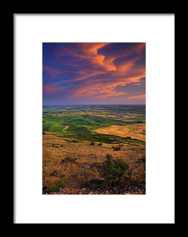 Palouse Framed Print featuring the photograph Palouse Skies Ablaze by Mike Dawson