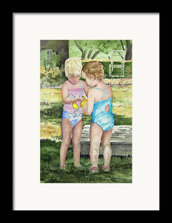 Children Framed Print featuring the painting Pals Share by Sam Sidders