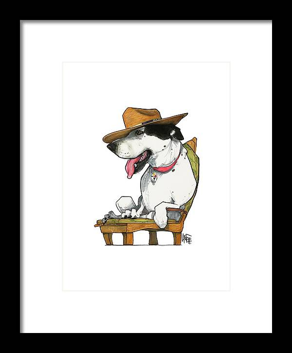 Pet Portrait Framed Print featuring the drawing Paluzzi 7-1383 by John LaFree
