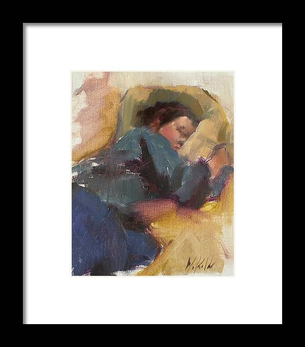 Figurative Framed Print featuring the painting Pam Resting by Merle Keller
