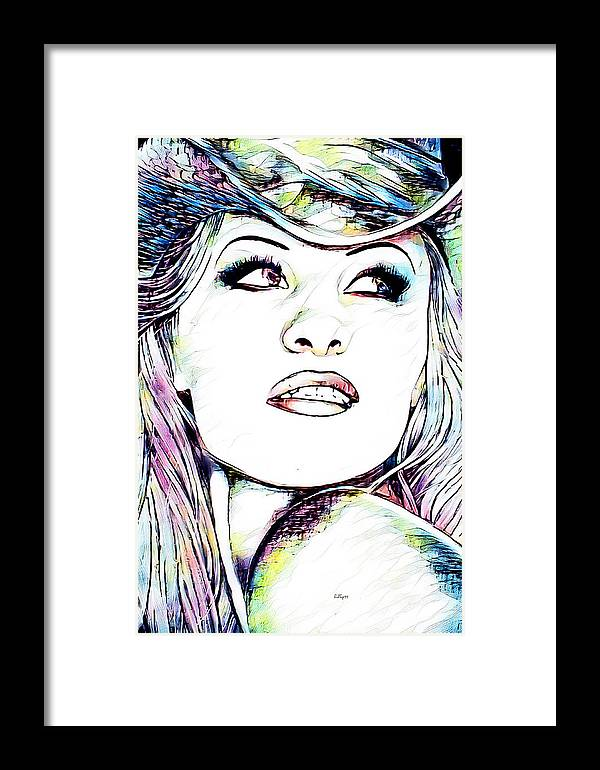 Paint Framed Print featuring the mixed media Pamela Anderson Portrait by Nenad Vasic
