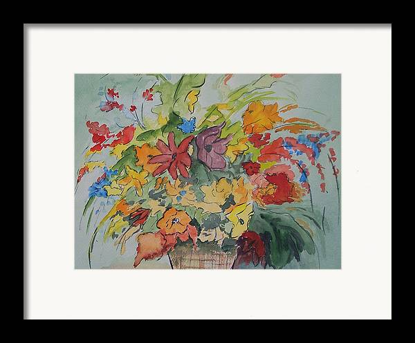 Watercolor Framed Print featuring the painting Pams Flowers by Robert Thomaston