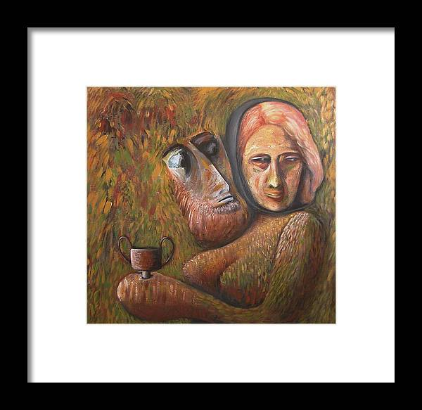 Mythology Framed Print featuring the painting Pan And Ariadne by Mushtaq Bhat