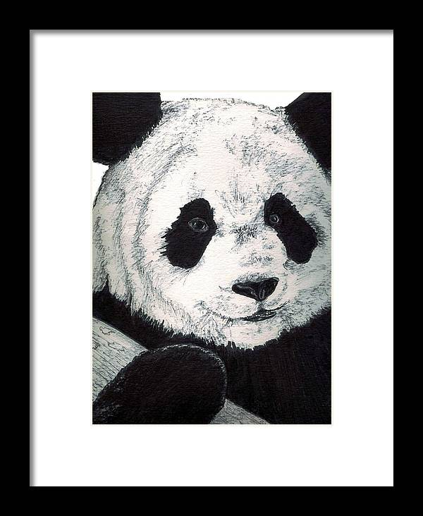 Panda Framed Print featuring the painting Panda by Debra Sandstrom