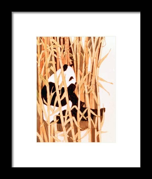 Panda Framed Print featuring the painting Panda In Bamboo by Linda Crockett