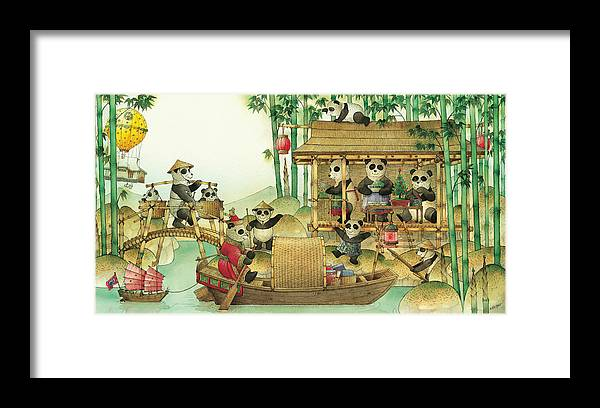 Christmas Greeting Cards Panda China Framed Print featuring the painting Pandabears Christmas 03 by Kestutis Kasparavicius