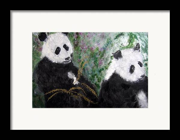 Animal Framed Print featuring the painting Pandas With Golden Bamboo by Michela Akers
